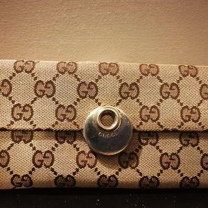Authentic Gucci Pink Bree Monogram Canvas Wallet